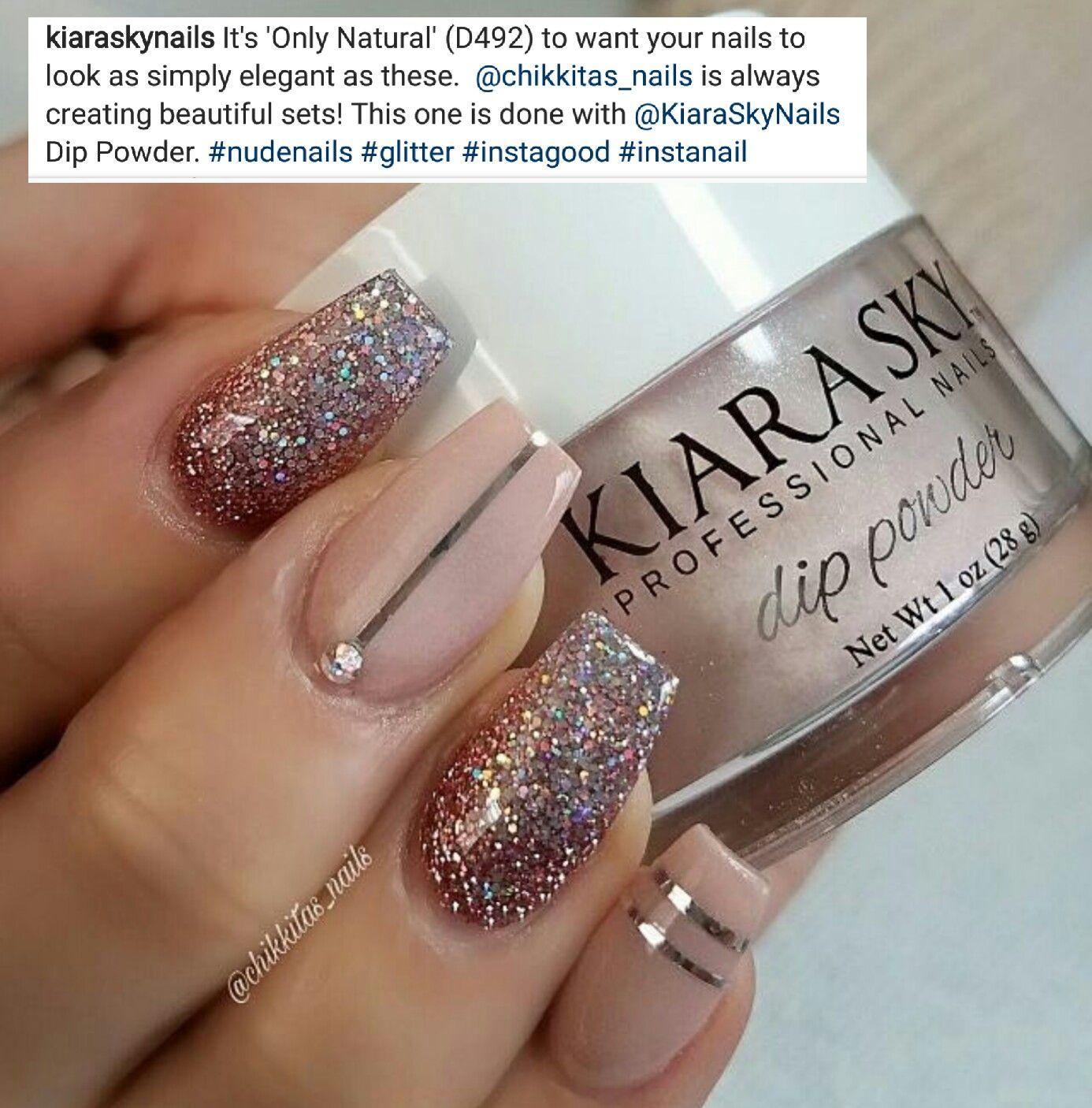 Kiarasky Only Natural Shellac Nails Glitter Sns Dip Powder