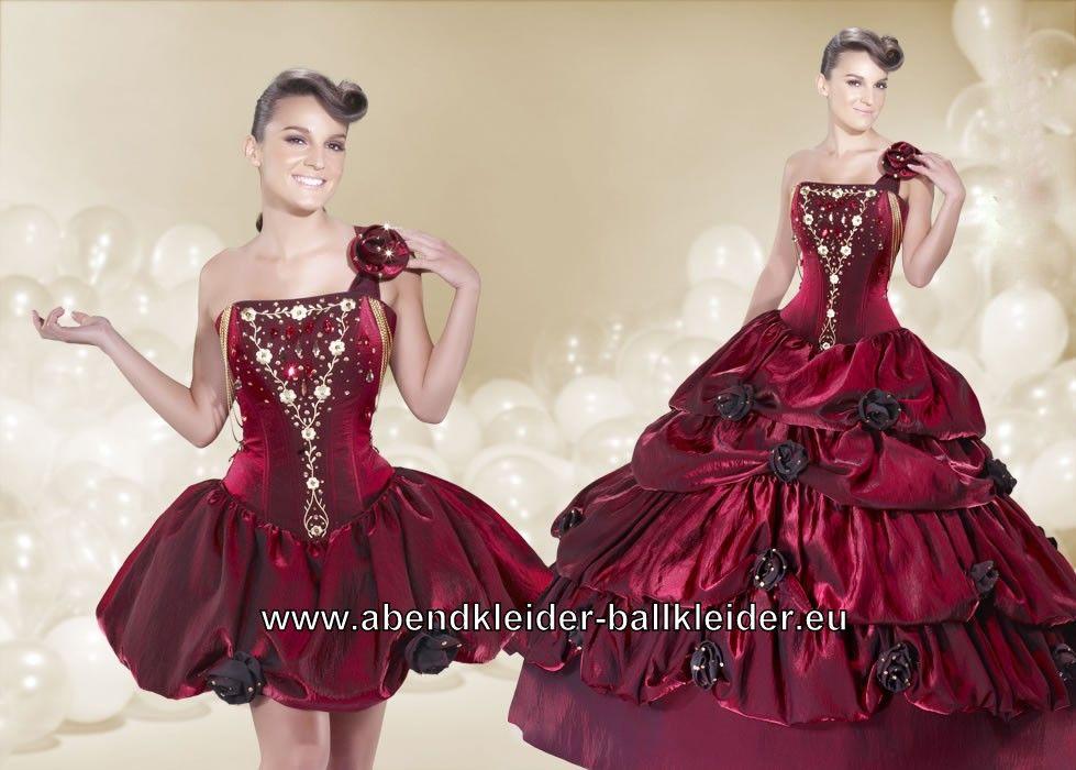 Klassisches Ballkleid Brautkleid Abendkleid in Rot Dunkelrot Weinrot ...