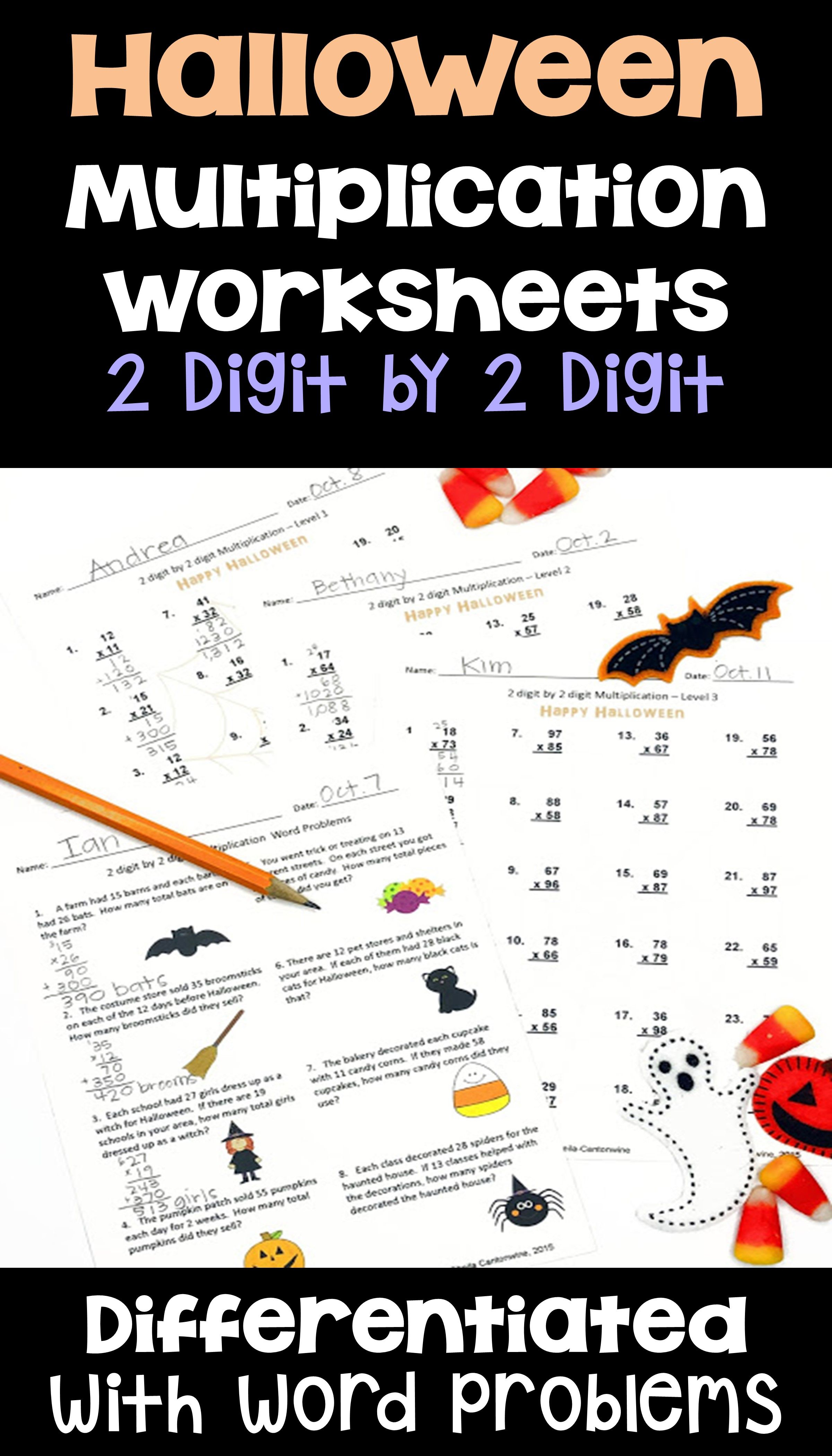 Halloween Math 2 Digit By 2 Digit Multiplication