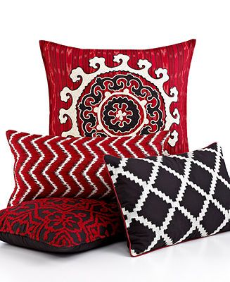 Inc International Concepts Bedding Ikat Red Black And White Throw Pillows Decorative Pillows Pillows Throw Pillows Bed