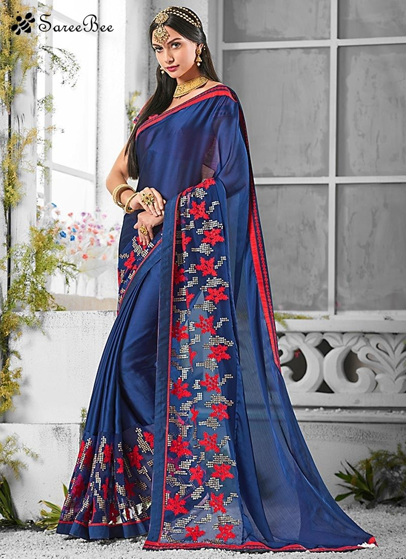 Latest Pure Chiffon Embroidered Work Saree For More ...