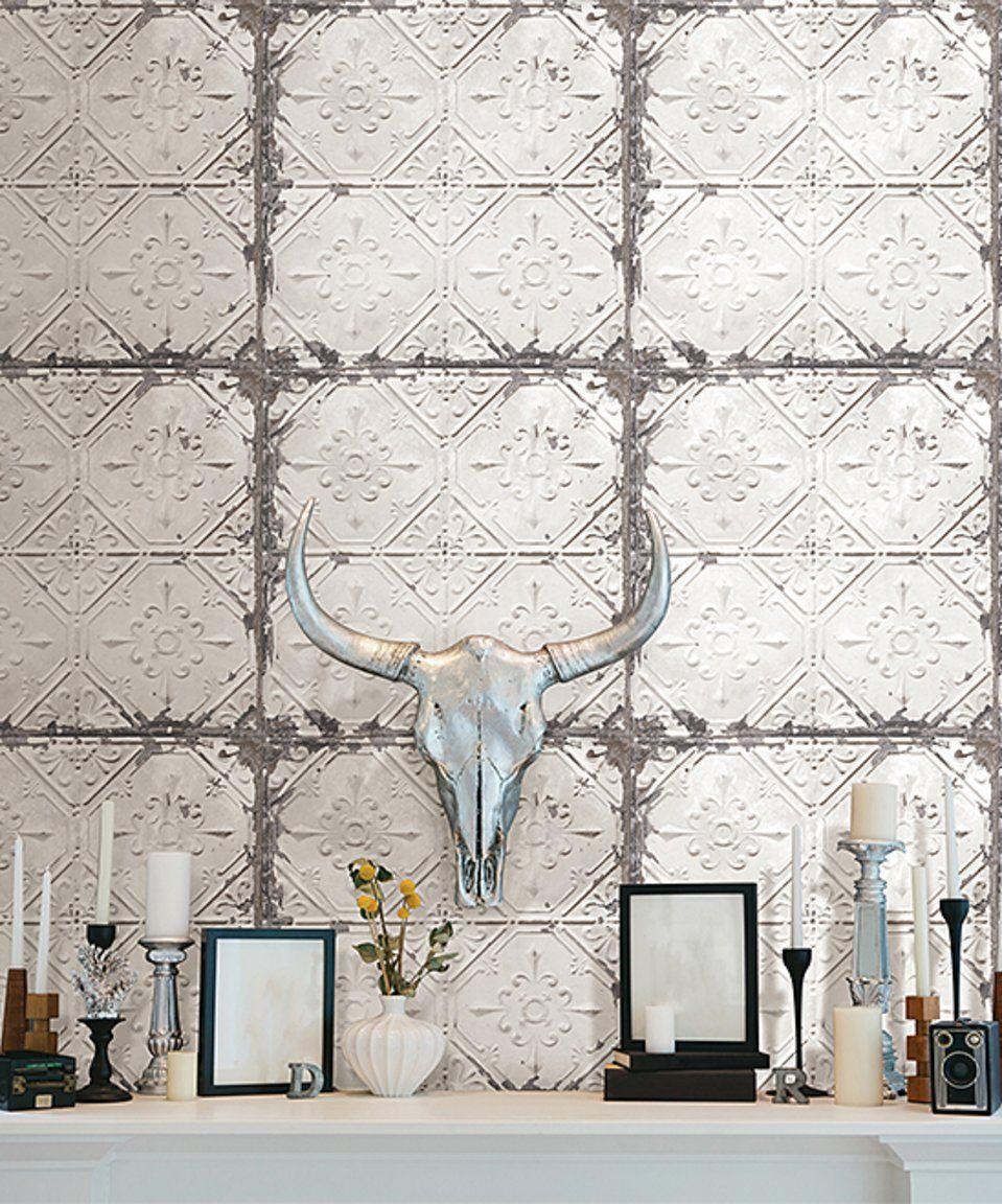 Take A Look At This Vintage Tin Tile Peel Stick Wallpaper Decal Today Vintage Tin Tiles Tin Tiles Peel And Stick Wallpaper