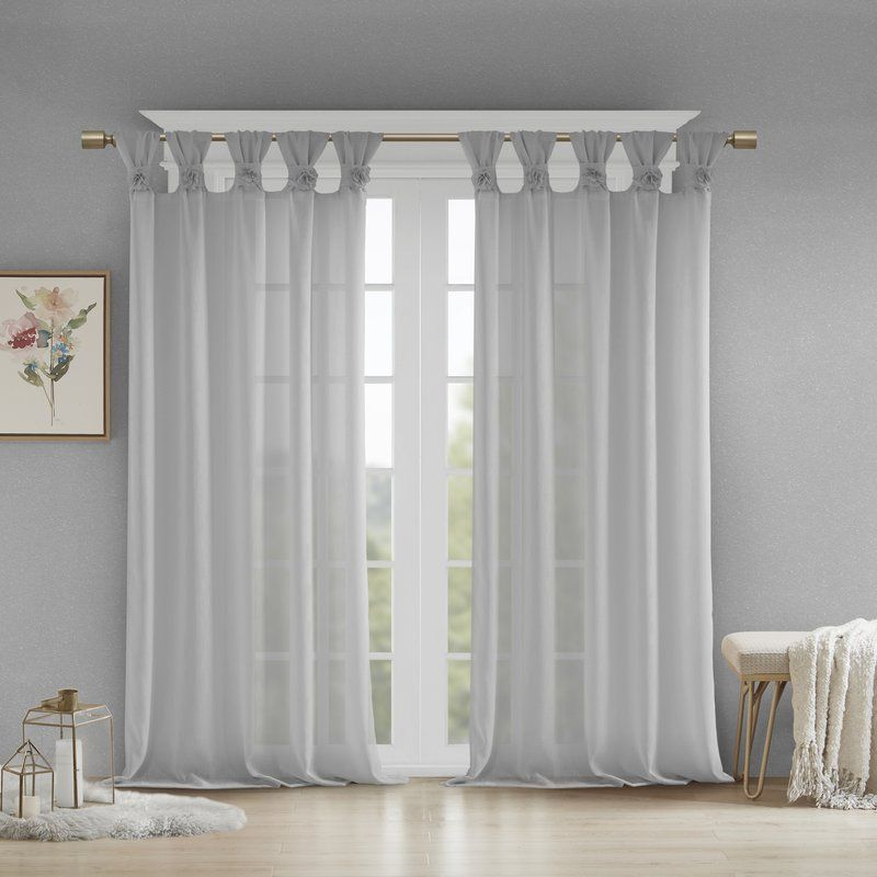 Mysliwiec Floral Twist Solid Semi Sheer Tab Top Single Curtain