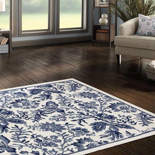 blue white area rug mohawk blue jacobean woven area rug. Black Bedroom Furniture Sets. Home Design Ideas