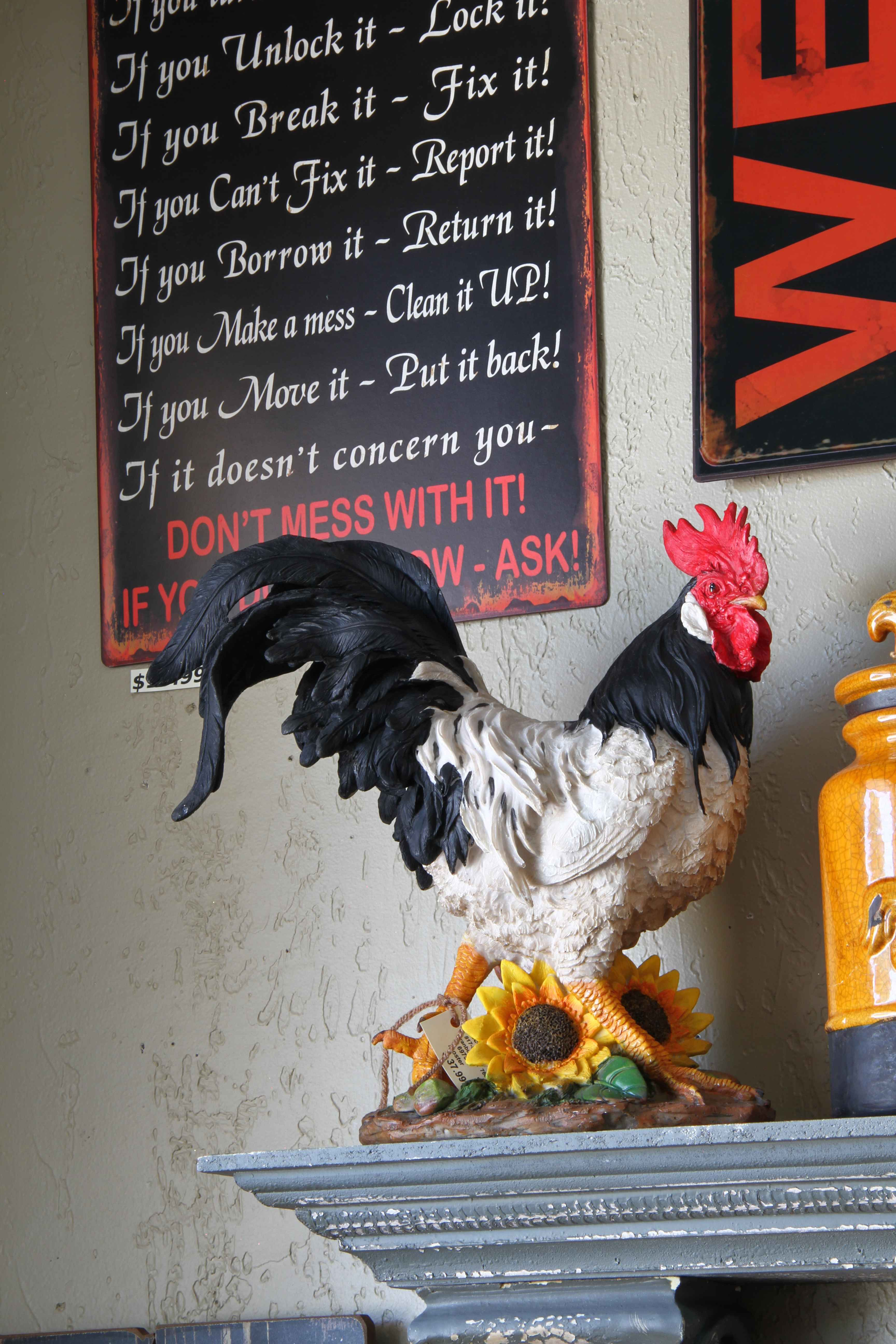 Rooster And Sunflower Rooster Kitchen Decor Rooster Kitchen Rooster