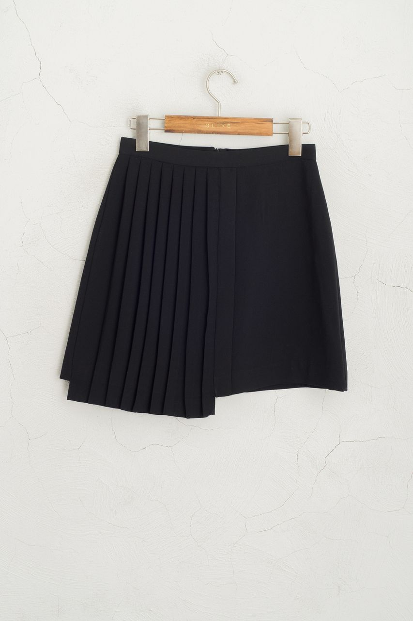 38e09d472 Half Pleated Mini Skirt, Black, 100% Polyester | skirts | Pleated ...