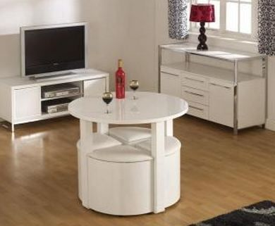 Charisma Stowaway Dining Set White 4 Chairs Furniture Trends