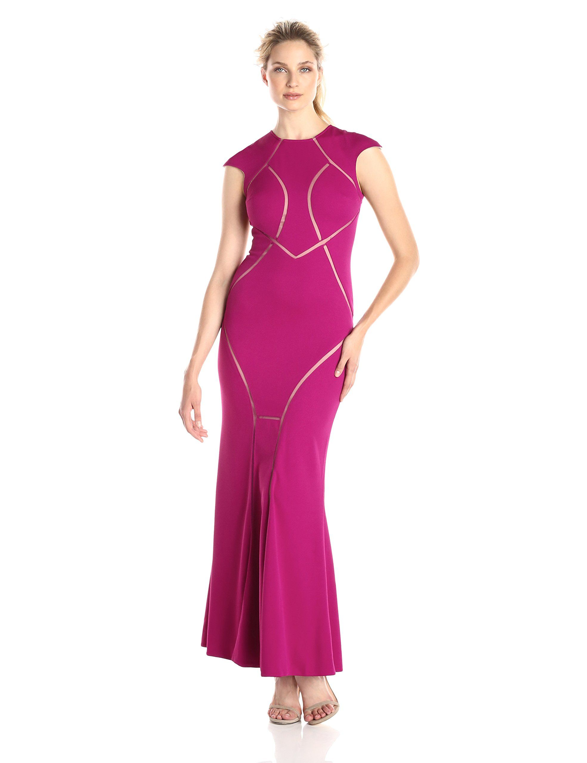 Js collection womenus stretch crepe and mesh contoured illusion cut