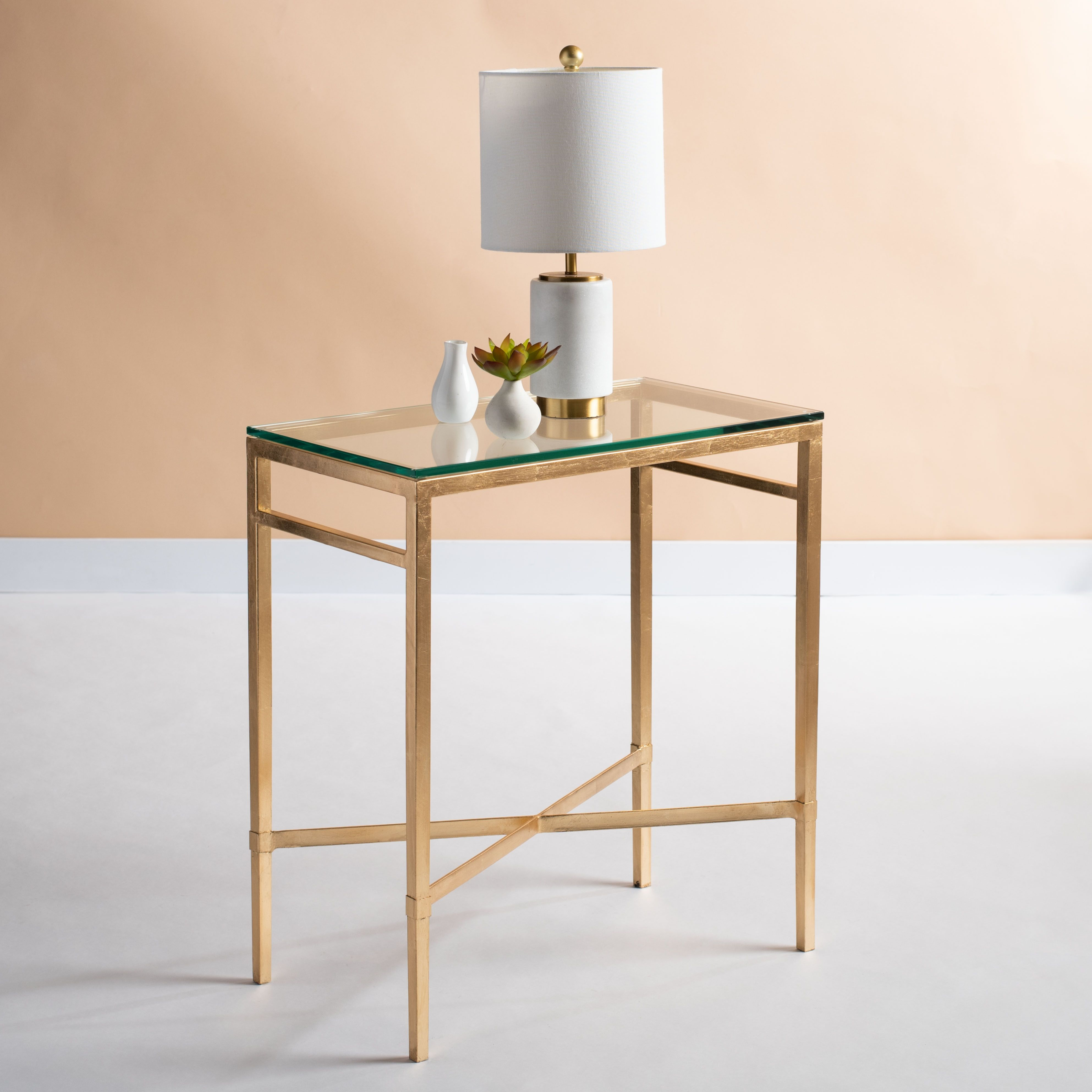 Safavieh Viggo Chair Accent Table Ashley Furniture Homestore In 2021 Glass Top End Tables Glass Side Tables Metal Accent Table