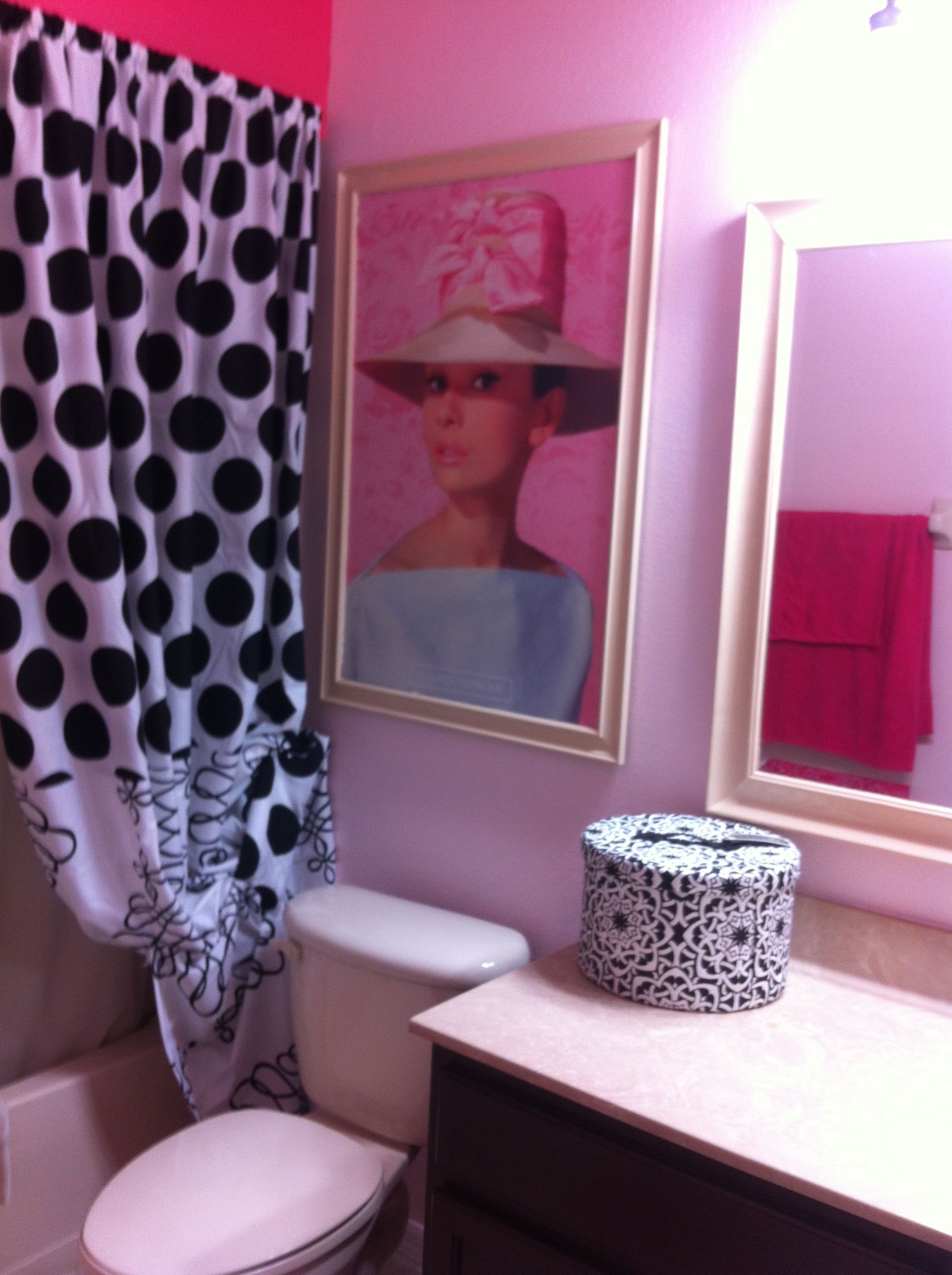 audrey hepburn theme girls bathroom pink , black and white poka