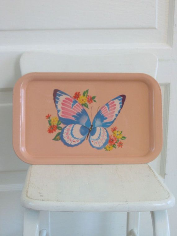 Vintage Tray Metal Butterfly Kitsch Pink Blue by vintagejane, $18.00