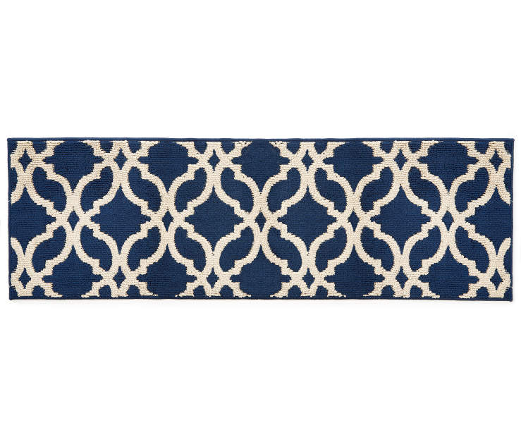 Living Colors Navy Blue Alexa Accent Rugs Quatrefoil Accent Rugs Navy Blue Rug