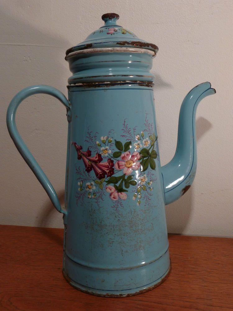 Belle cafeti re maill e ancienne d cor de fleurs in art for Objet deco shabby