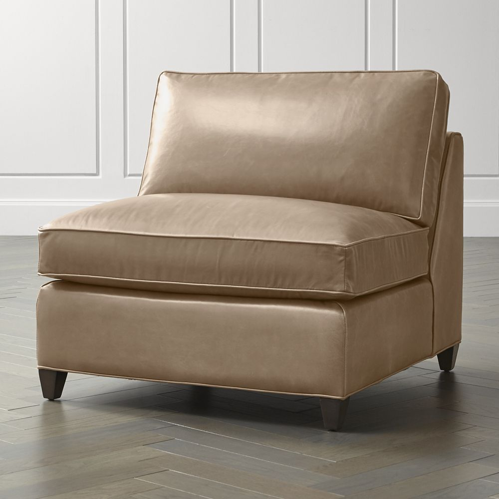 Barrett Leather Armless Chair + Reviews Crate and Barrel