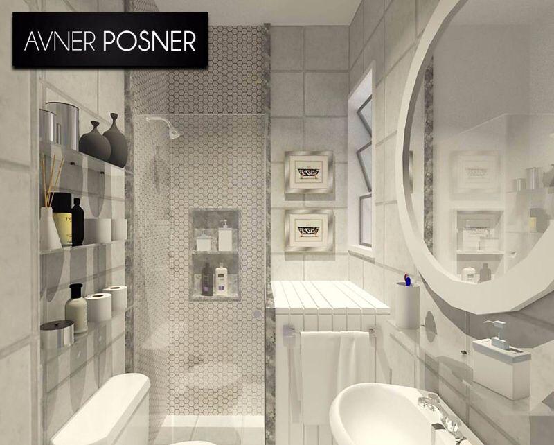 Projeto 3D de banheiro branco para ambiente de dimensões reduzidas.