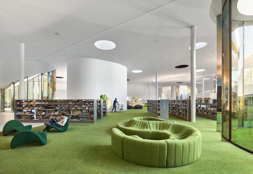 "Library by Dominique Coulon & Associés features ""unfurling ribbon"" facade"