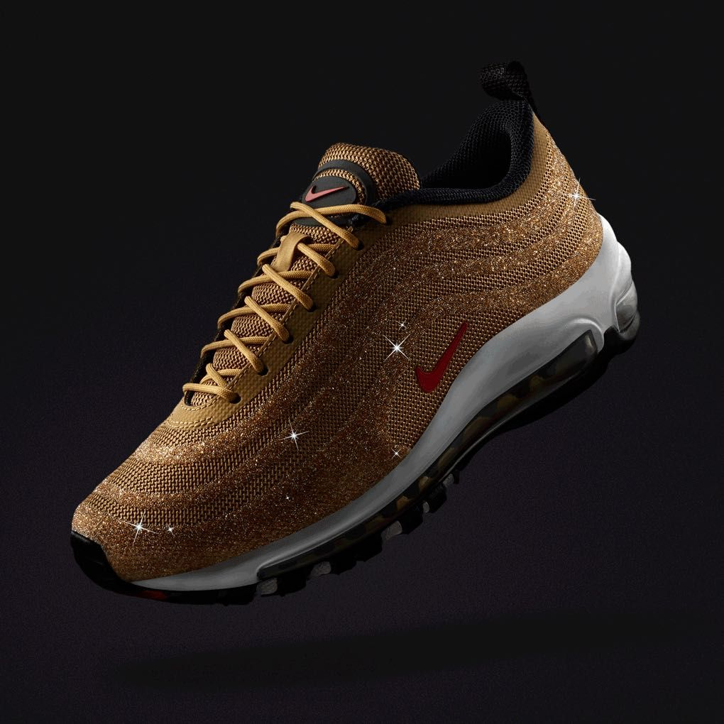 84c5604eefa77 Women s Nike Air Max 97  Gold Swarovski Crystal  Release Date ...