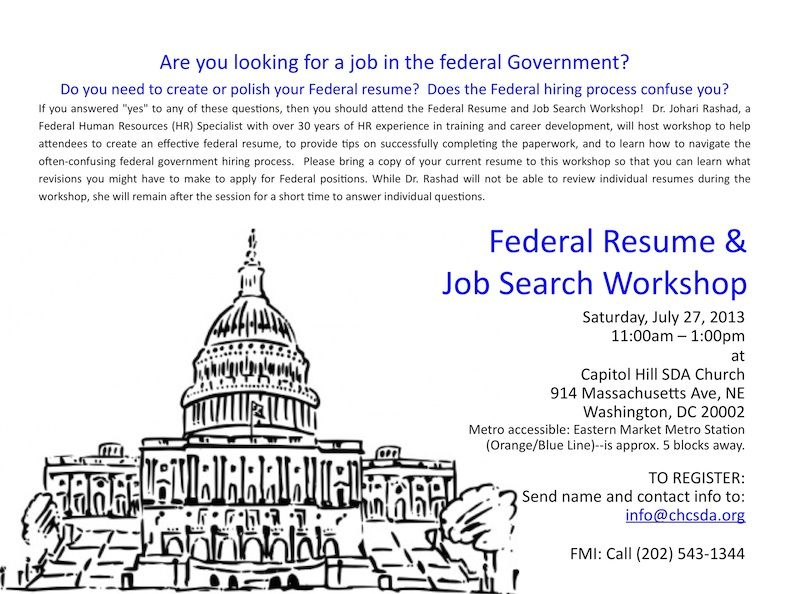 Flyer  Federal Resume Workshop Small  Acts Of Kindness