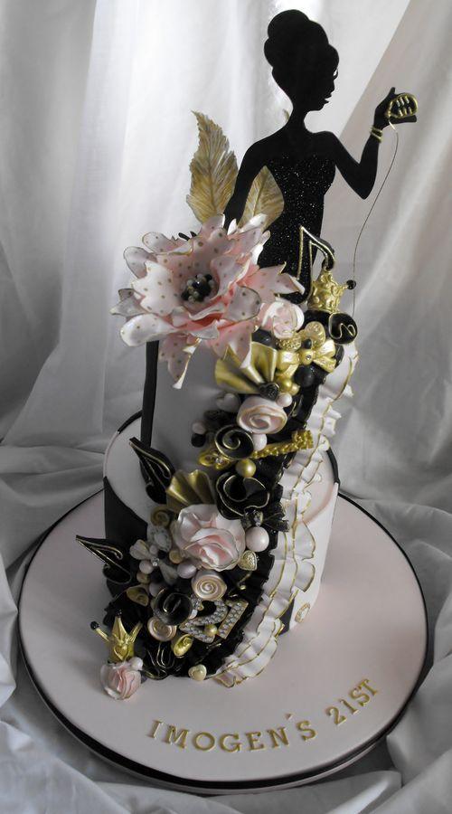 2 Tier Pink Black And Gold 21st Birthday Cake Wedding