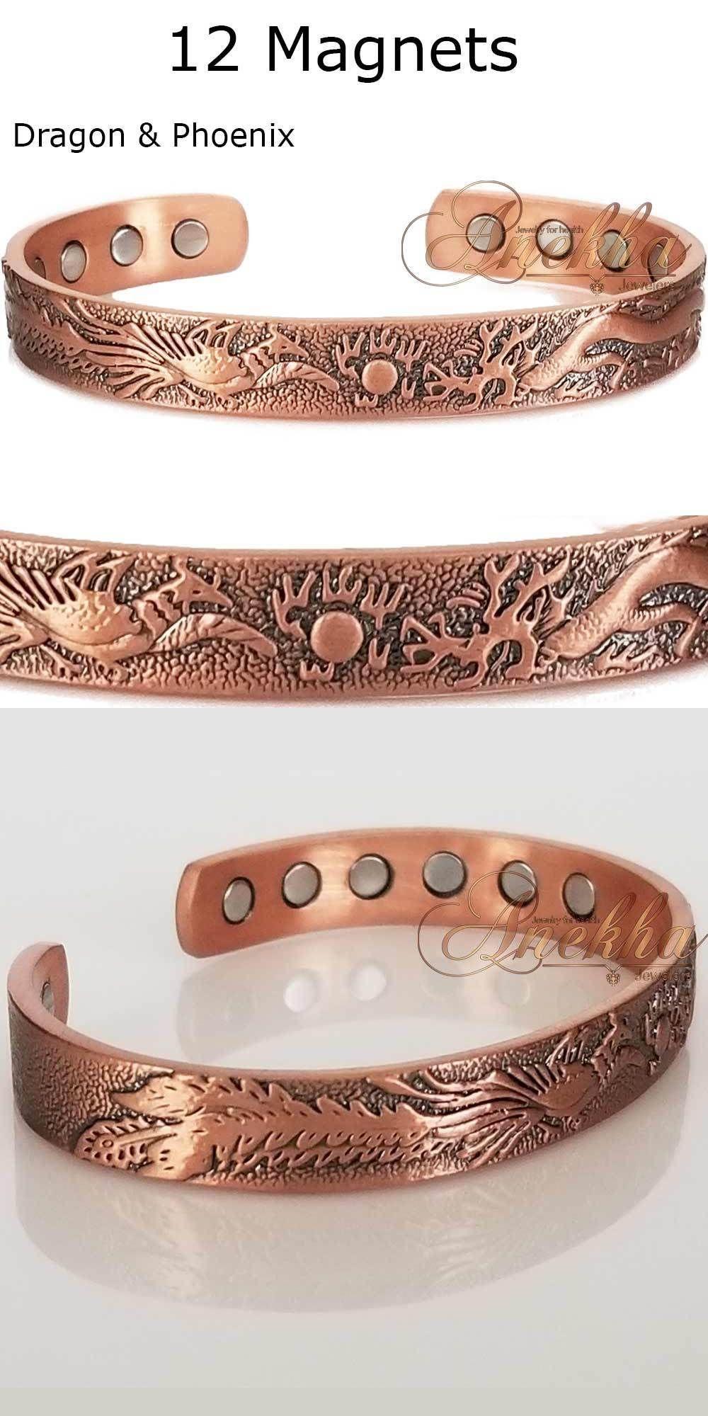 Cubio x magnetic pure copper phoenix dragon banglebracelet men