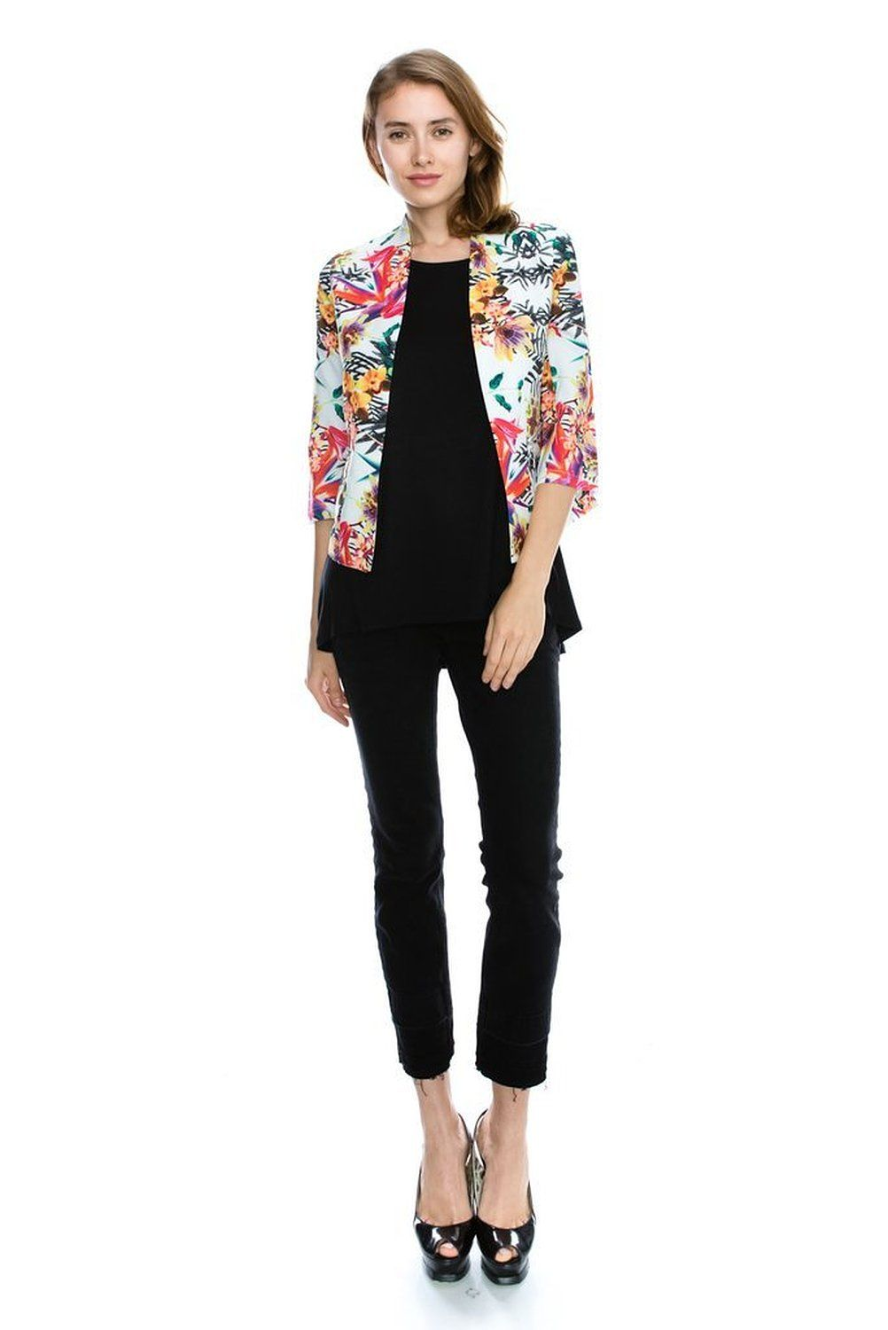 Sue&Caleb Womens floral print multi-color open blazer jacket at Amazon Women's Clothing store: