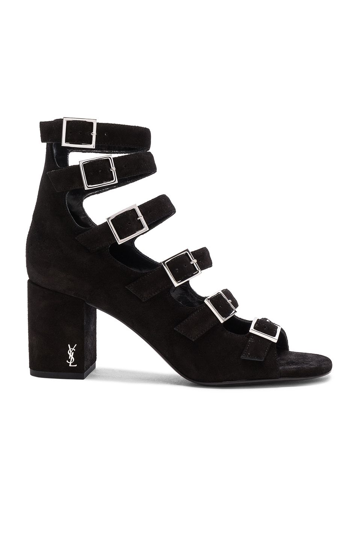 Black newborn sandals - Image 1 Of Saint Laurent Suede Babies Buckle Sandals In Black