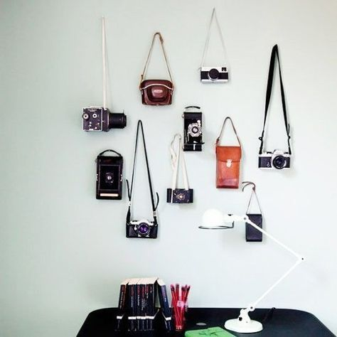How To Turn Your Vintage Camera Collection Into Wall Art Camera Decor Vintage Camera Decor Displaying Collections