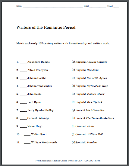 Romantic Period Writers Matching Worksheet Fun Activity For