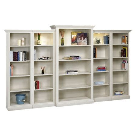 Large White Bookshelf With Built In Lighting