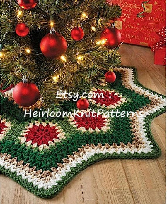 Granny Motif Christmas Tree Skirt Crochet Pattern Ripple Tree Skirt ...