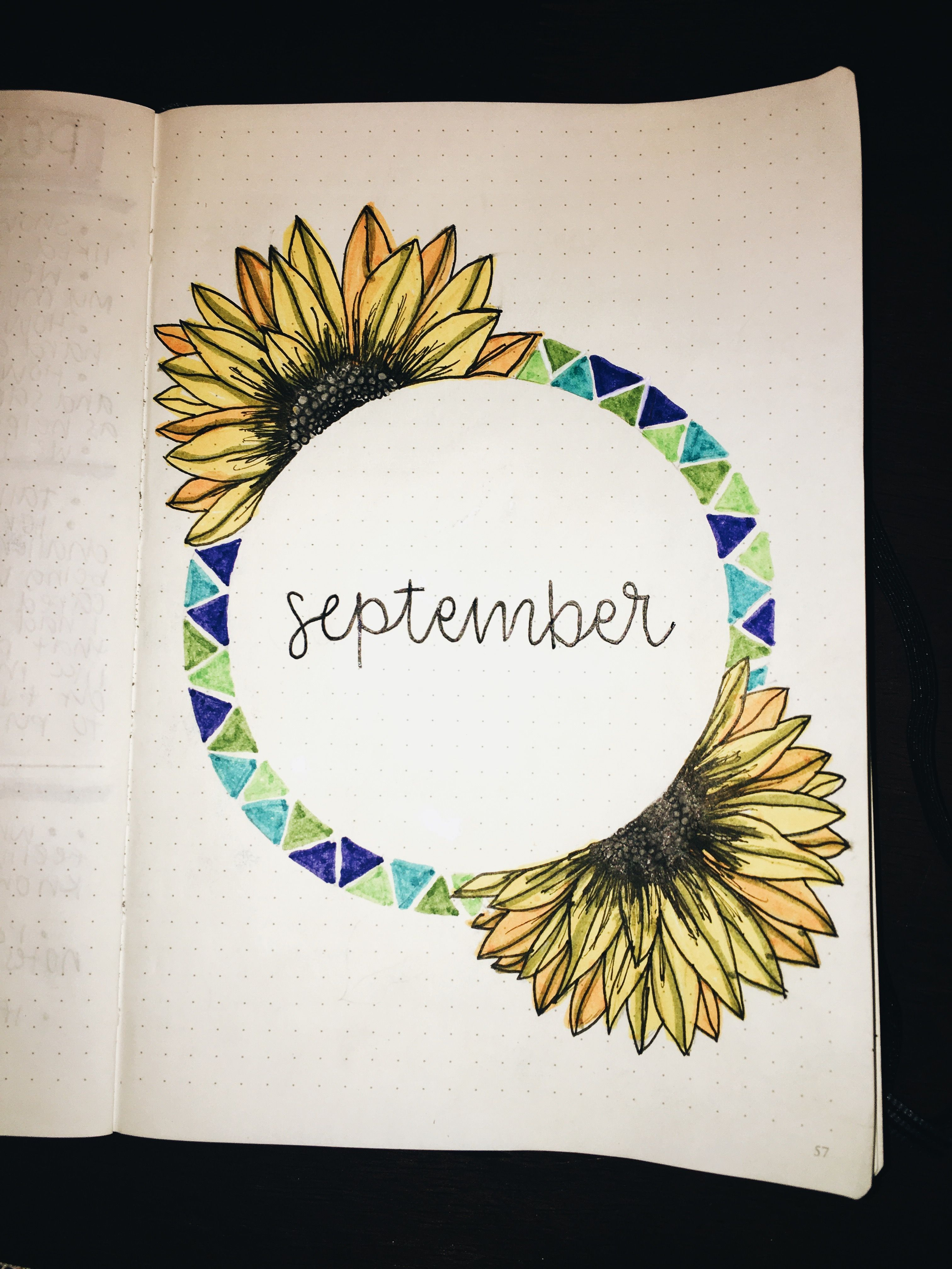 My September bullet journal cover. I couldn't find any that weren't too autumnal and weren't too summer-y, so I did a bit of a mix & got this. #September #Bulletjournal #bojo #art #diy #fall #doodle #drawing #flower #sunflower #ideas #septemberbulletjournalcover