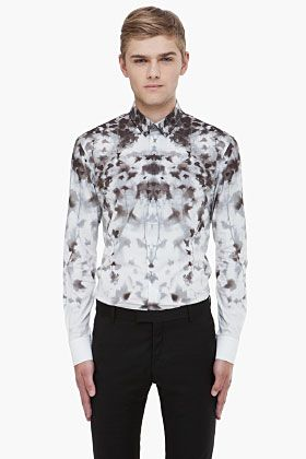 Alexander McQueen grey leaf print shirt for men | SSENSE