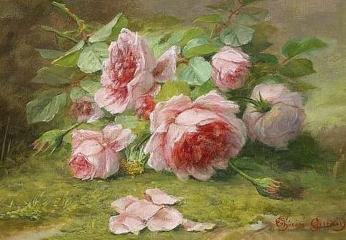 Therese Guerin Flower Piece With Roses 19th Century Peinture
