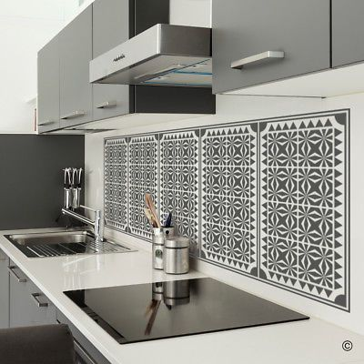 geometric panels vinyl wall decal - fits kitchen backsplash