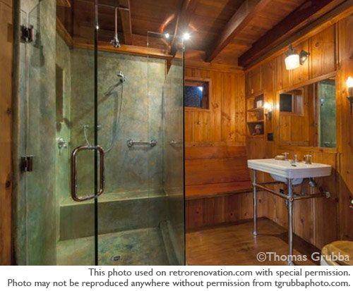 Elegant Knotty Pine Bathroom In A Storybook House   Retro Renovation