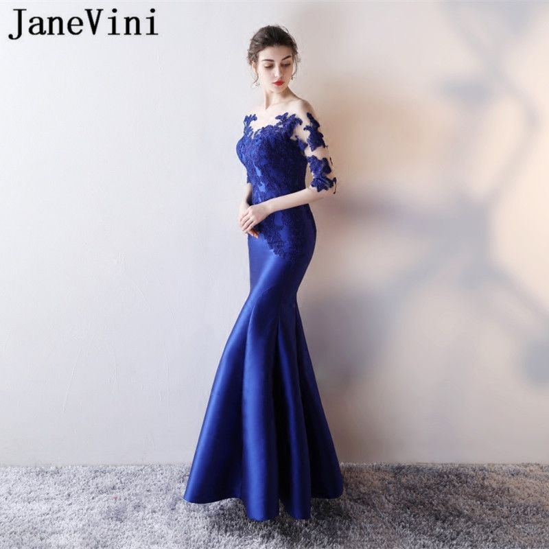JaneVini Sexy Illusion Royal Blue Lace Mermaid Party Dress Long Satin Women  Wedding Party Bridesmaid Dress Formal Prom Wear 2018 1a8202922249