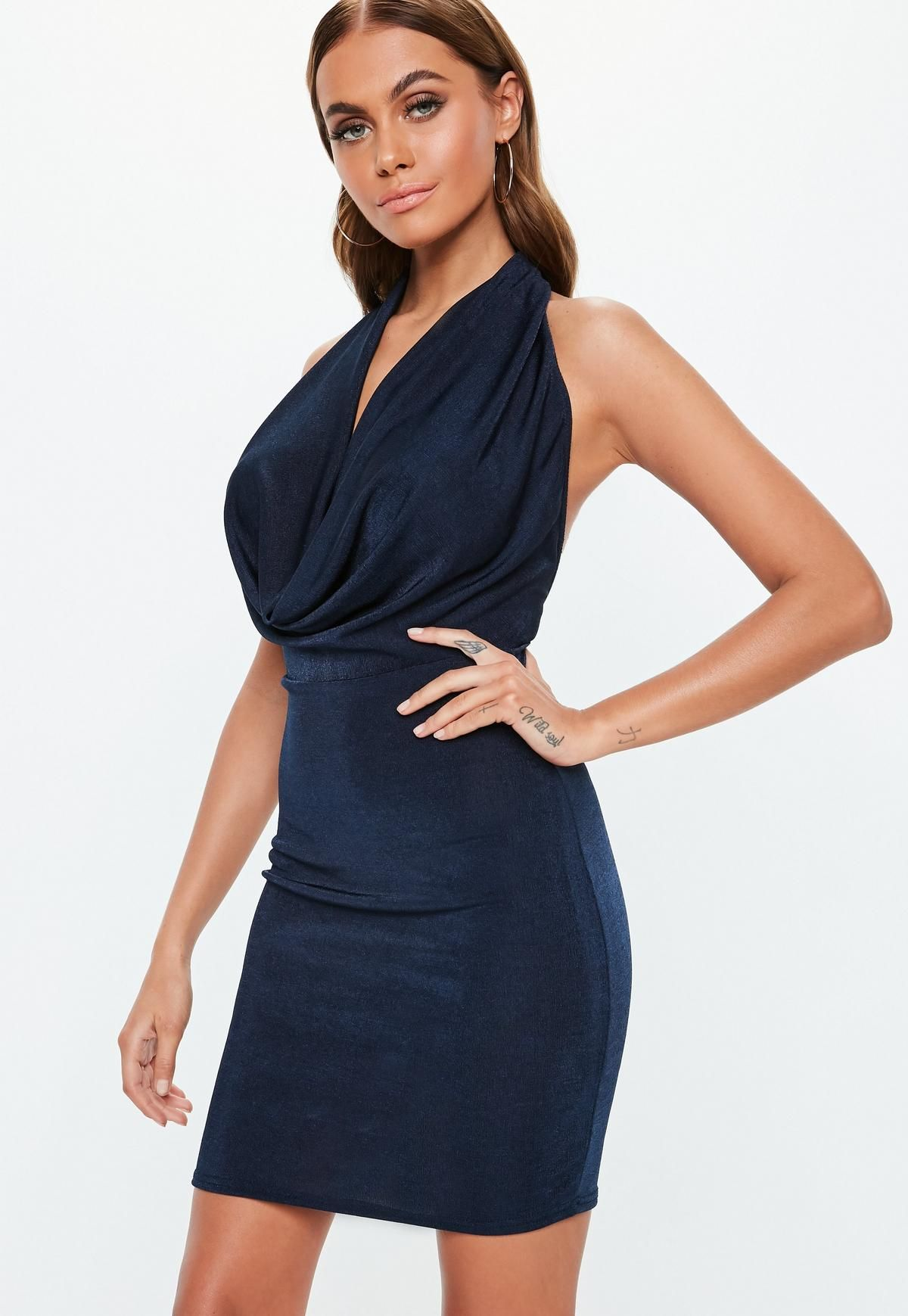 2dc0b0f900252 Navy Slinky Extreme Cowl Mini Dress i 2019 | Dress| clothes or shoes ...