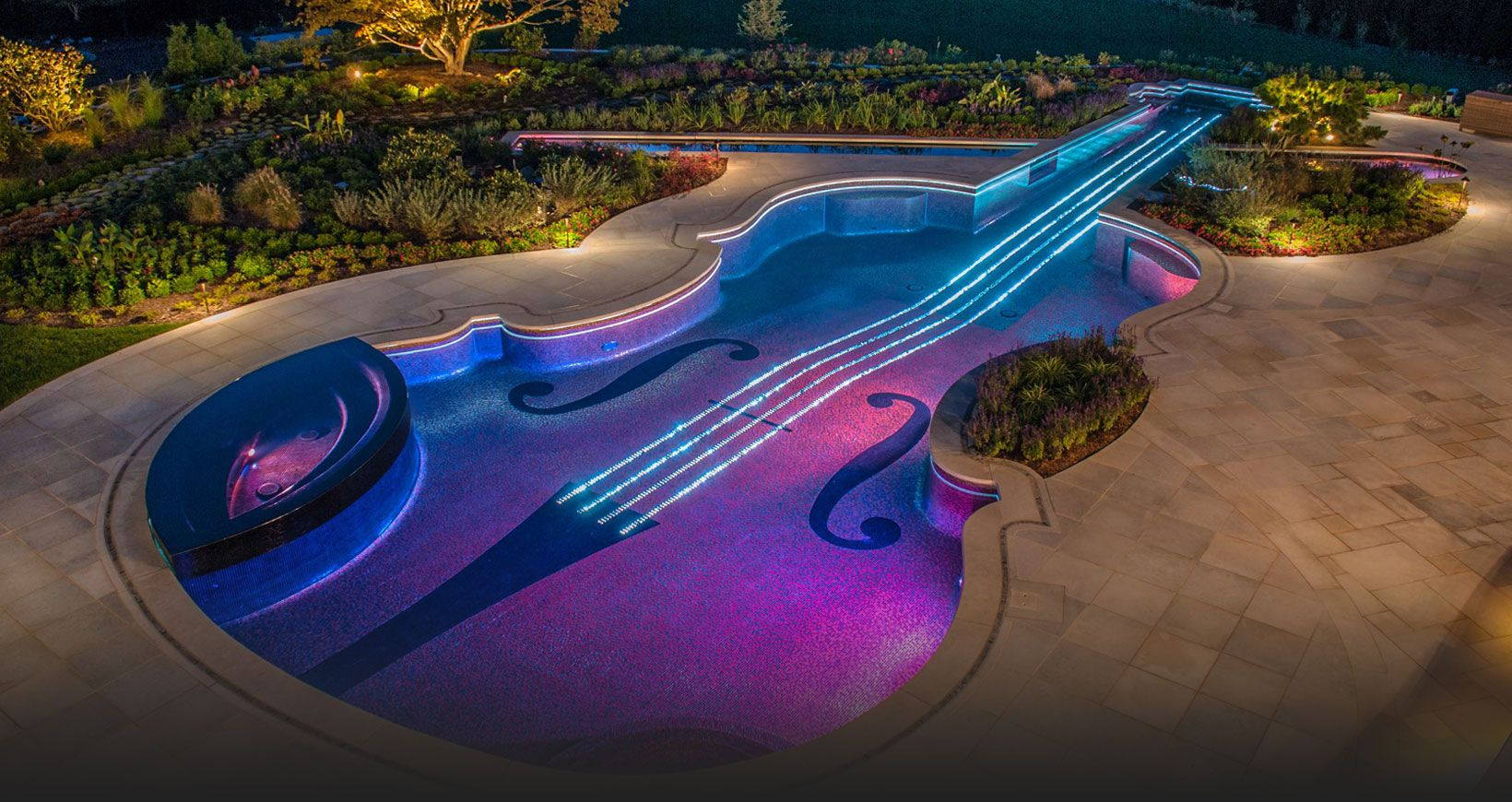 Awesome Modern Swimming Pool Decorating Ideas With Full Lighting Violin  Theme