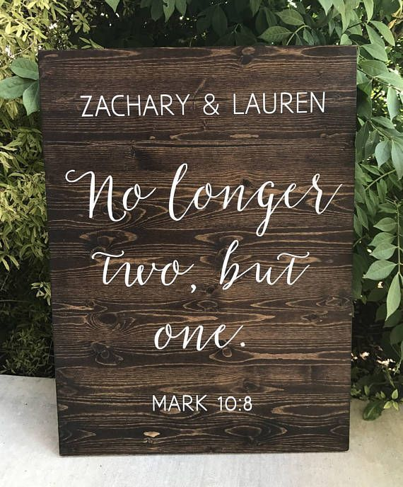 No longer two but one  Mark 10:8  Custom Wedding Date and | Etsy