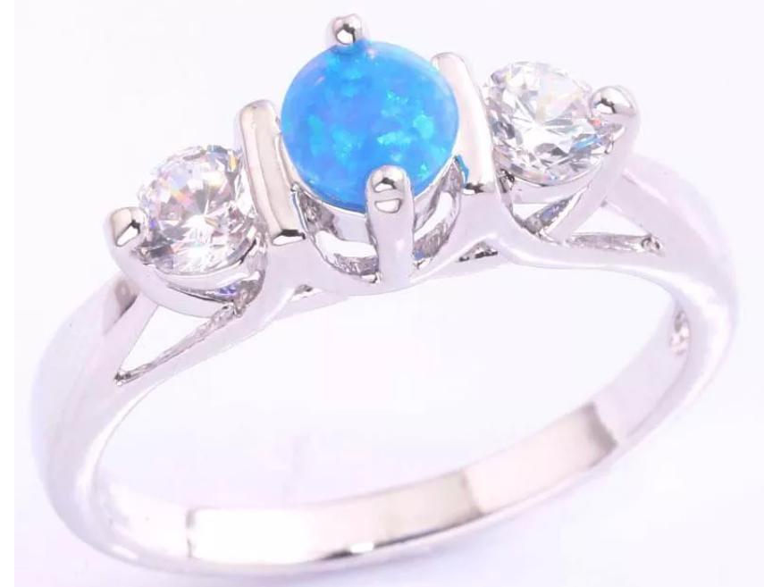 Blue Fire Opal White Topaz Silver Ring Size 6 Fire Opal Silver Rings Ring Size