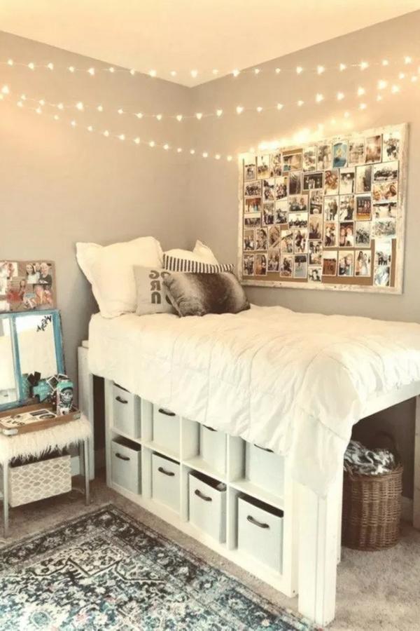 Dormitory Bedroom Idea Design Furniture Bed Sheet In 2020 College Dorm Room Decor Dorm Room Diy Cool Dorm Rooms