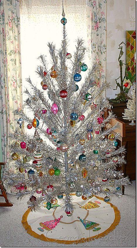 Vintage Aluminum Tree And Ornaments Christmas Trees Vintage