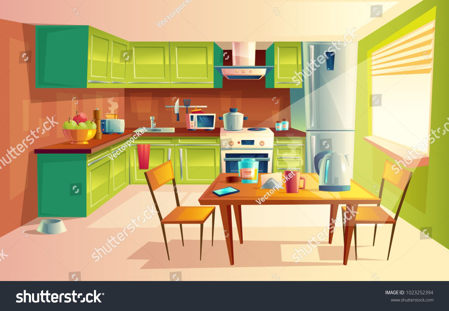 Vector Cartoon Illustration Of Cozy Modern Kitchen With Appliances