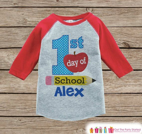 Kids First Day of School Outfit - Personalized Boys 1st Day of School Shirt - Boys Red Raglan Tee - #firstdayofschooloutfits