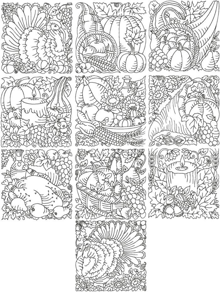 Thanksgiving Redwork Quilting Block Set Redwork Embroidery Embroidery Patterns Machine Embroidery Patterns