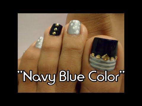 Azul Intenso y Zebra Decoración de uñas de los Pies/ Zebra print & Intense blue toe ni art - YouTube