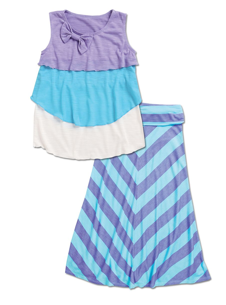 From CWDkids: Tiered Top with Bow & Bias Stripe Maxi Skirt