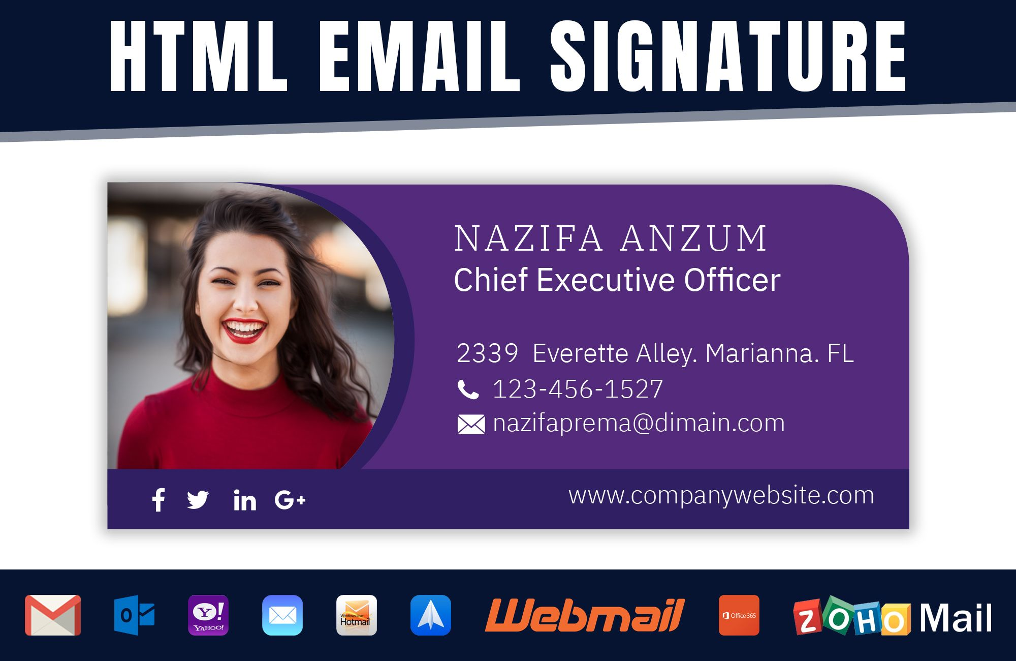 design clickable HTML email signature, gmail, outlook