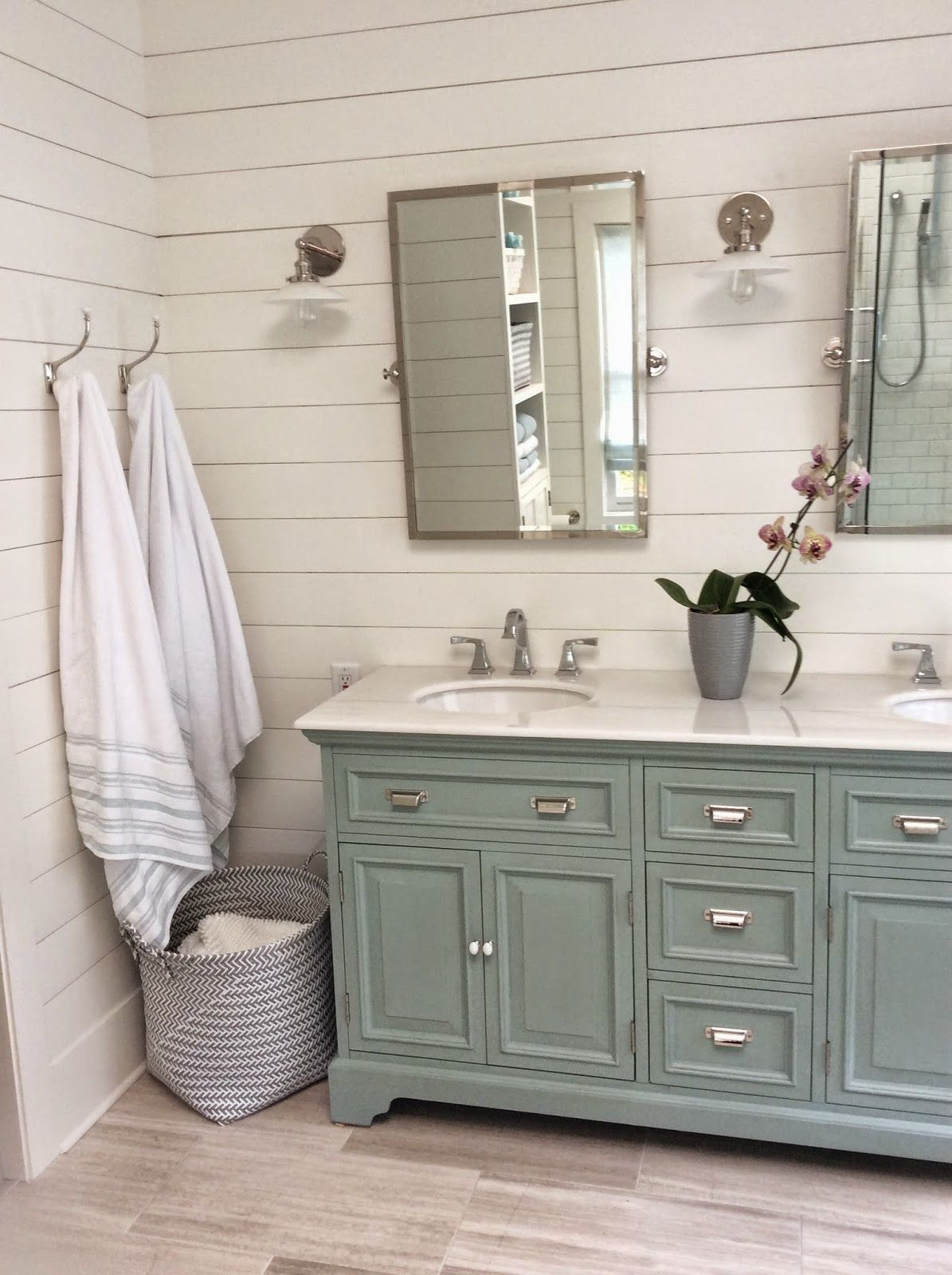 Bathroom cabinets in blue cottage and vine friday link for Cottage bathroom ideas renovate