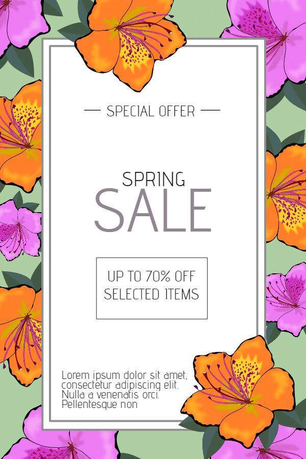 Spring Sale Poster Template Click To Customize  Spring Poster